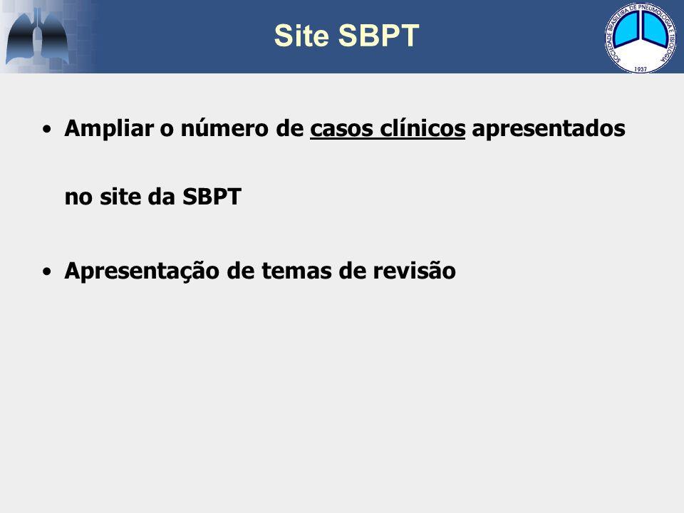 Site SBPT Ampliar o número de casos clínicos apresentados no site da SBPT.