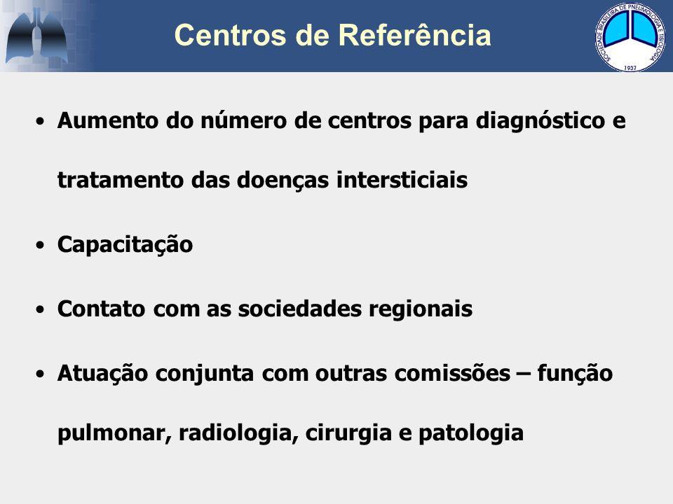 Centros de Referência Aumento do número de centros para diagnóstico e tratamento das doenças intersticiais.