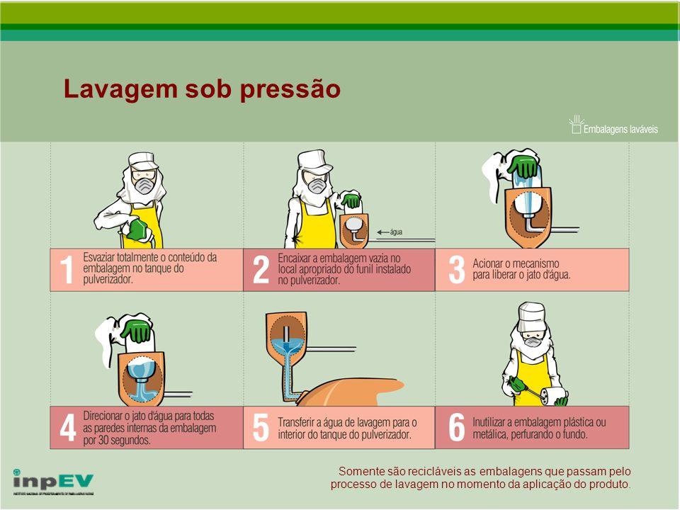 Lavagem sob pressãoSomente são recicláveis as embalagens que passam pelo processo de lavagem no momento da aplicação do produto.