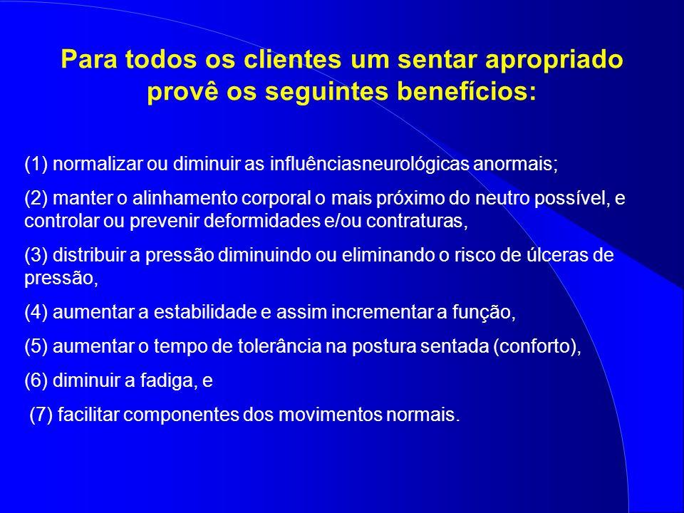 Para todos os clientes um sentar apropriado provê os seguintes benefícios: