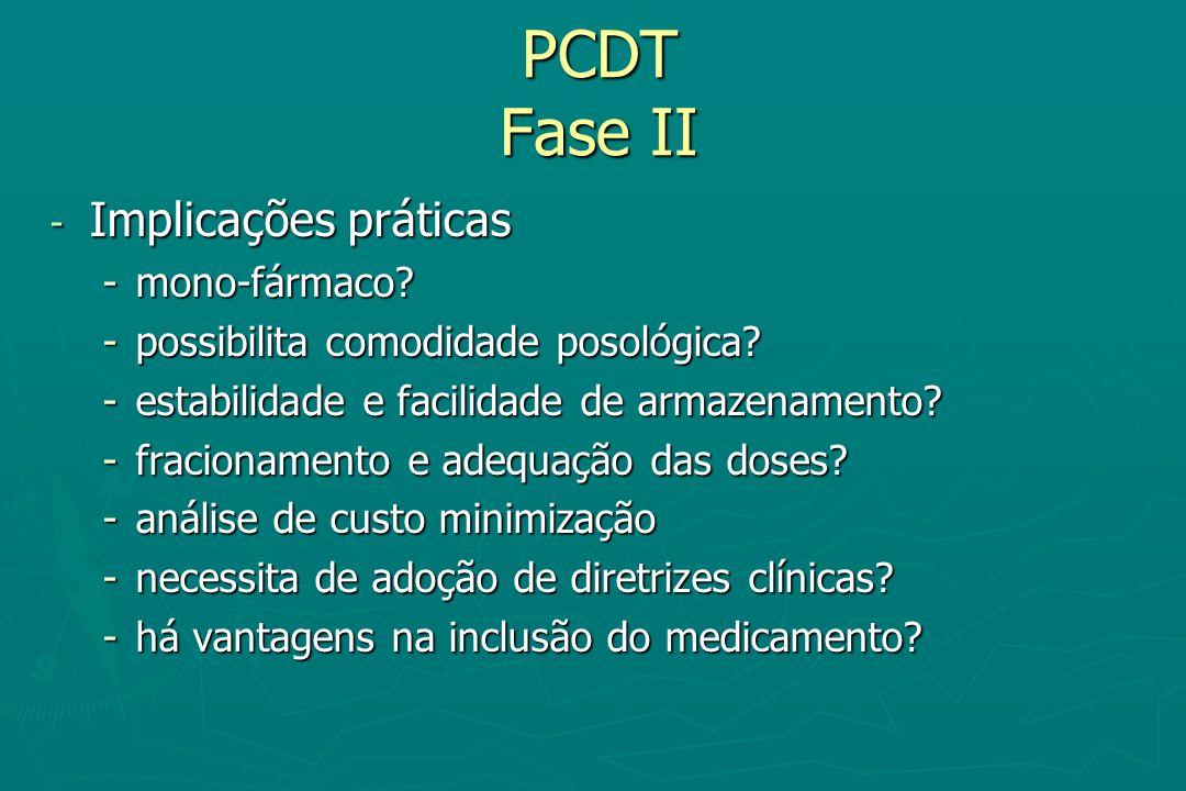 PCDT Fase II Implicações práticas mono-fármaco