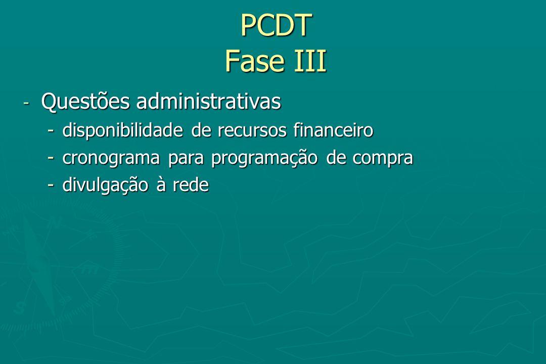 PCDT Fase III Questões administrativas