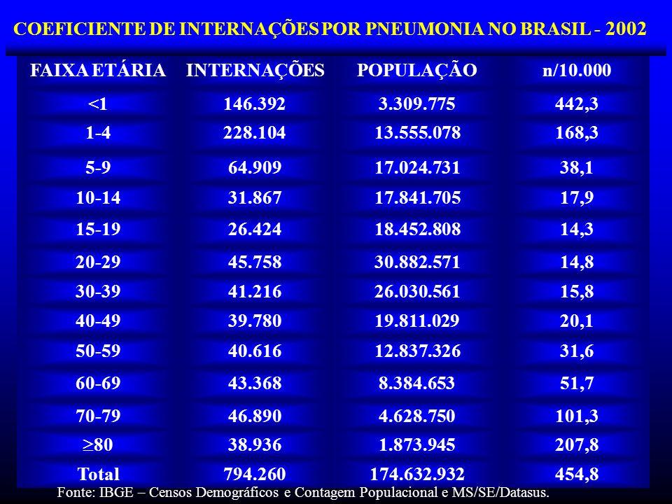 COEFICIENTE DE INTERNAÇÕES POR PNEUMONIA NO BRASIL - 2002