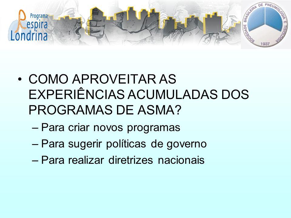COMO APROVEITAR AS EXPERIÊNCIAS ACUMULADAS DOS PROGRAMAS DE ASMA