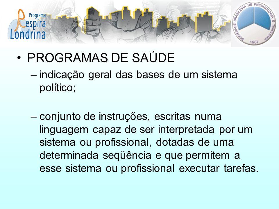 PROGRAMAS DE SAÚDE indicação geral das bases de um sistema político;