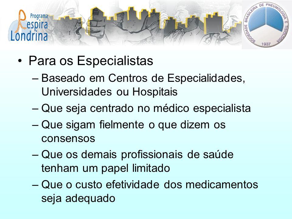 Para os Especialistas Baseado em Centros de Especialidades, Universidades ou Hospitais. Que seja centrado no médico especialista.