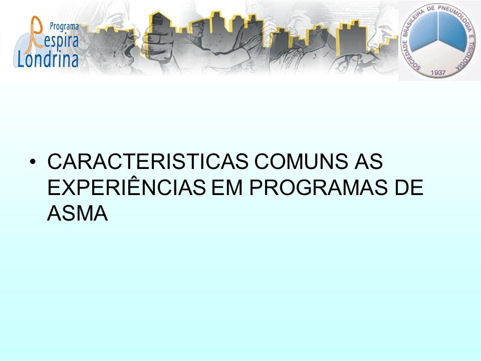 CARACTERISTICAS COMUNS AS EXPERIÊNCIAS EM PROGRAMAS DE ASMA