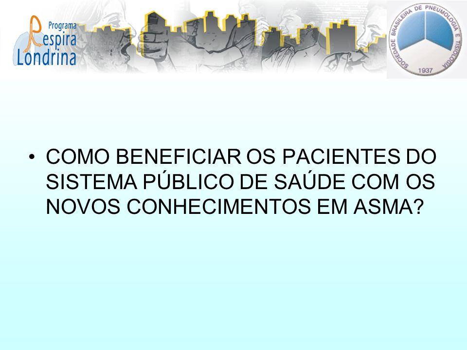 COMO BENEFICIAR OS PACIENTES DO SISTEMA PÚBLICO DE SAÚDE COM OS NOVOS CONHECIMENTOS EM ASMA