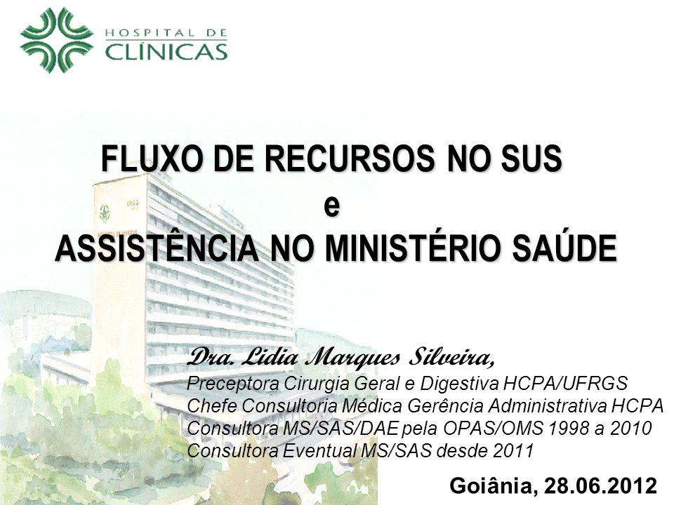 FLUXO DE RECURSOS NO SUS e ASSISTÊNCIA NO MINISTÉRIO SAÚDE