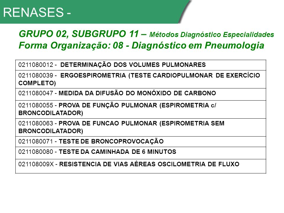 RENASES - GRUPO 02, SUBGRUPO 11 – Métodos Diagnóstico Especialidades
