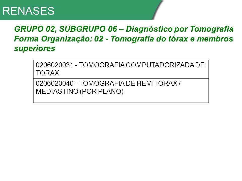 RENASES GRUPO 02, SUBGRUPO 06 – Diagnóstico por Tomografia