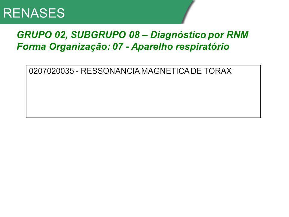 RENASES GRUPO 02, SUBGRUPO 08 – Diagnóstico por RNM
