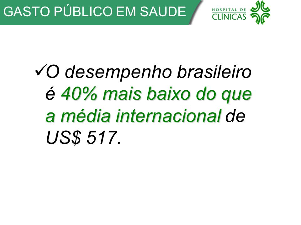 GASTO PÚBLICO EM SAUDE O desempenho brasileiro é 40% mais baixo do que a média internacional de US$ 517.
