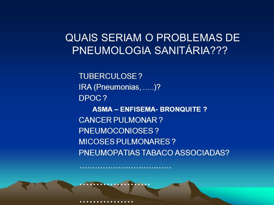 QUAIS SERIAM O PROBLEMAS DE PNEUMOLOGIA SANITÁRIA