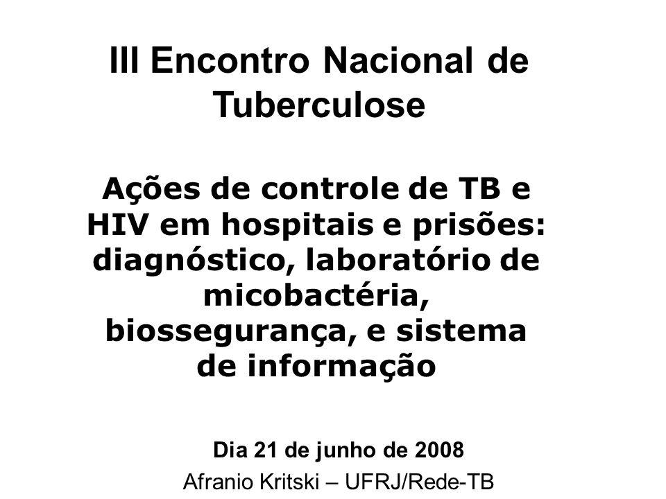 Dia 21 de junho de 2008 Afranio Kritski – UFRJ/Rede-TB