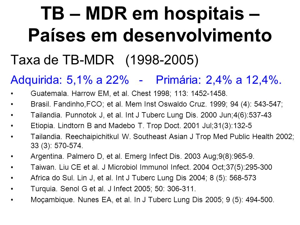TB – MDR em hospitais – Países em desenvolvimento