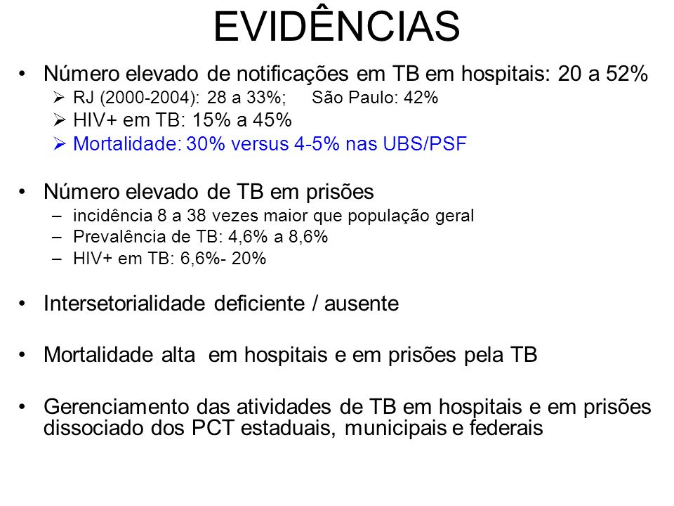 EVIDÊNCIAS Número elevado de notificações em TB em hospitais: 20 a 52%