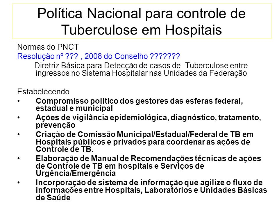 Política Nacional para controle de Tuberculose em Hospitais