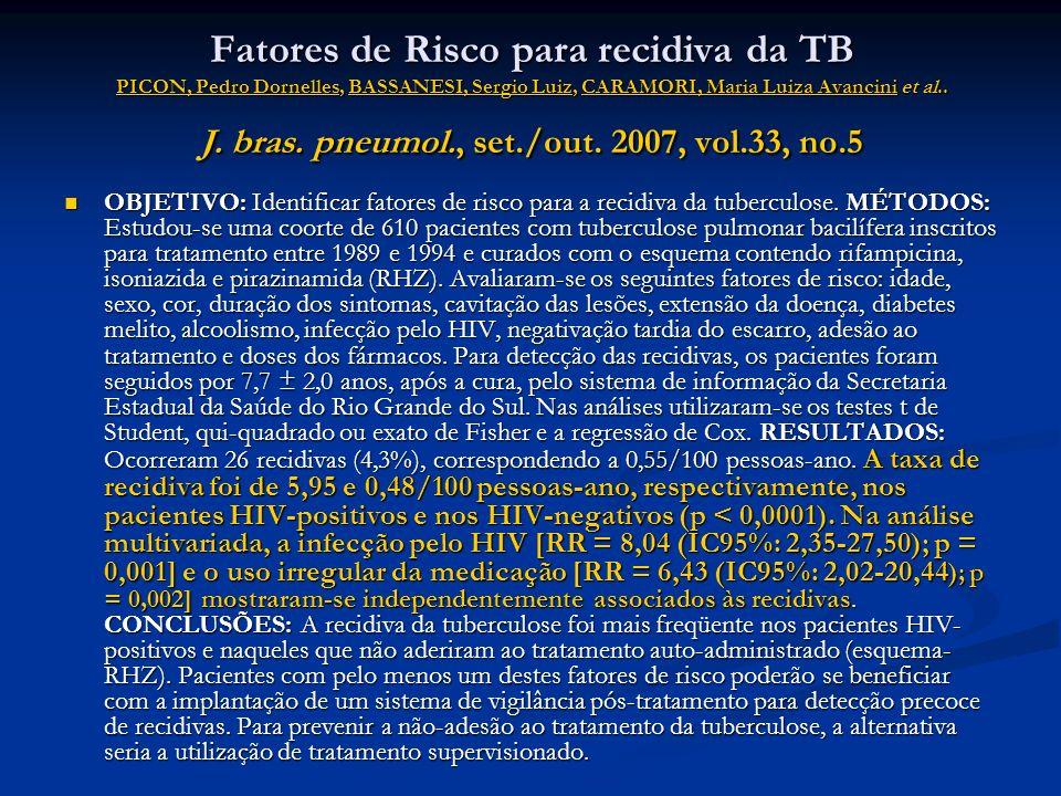 Fatores de Risco para recidiva da TB PICON, Pedro Dornelles, BASSANESI, Sergio Luiz, CARAMORI, Maria Luiza Avancini et al.. J. bras. pneumol., set./out. 2007, vol.33, no.5