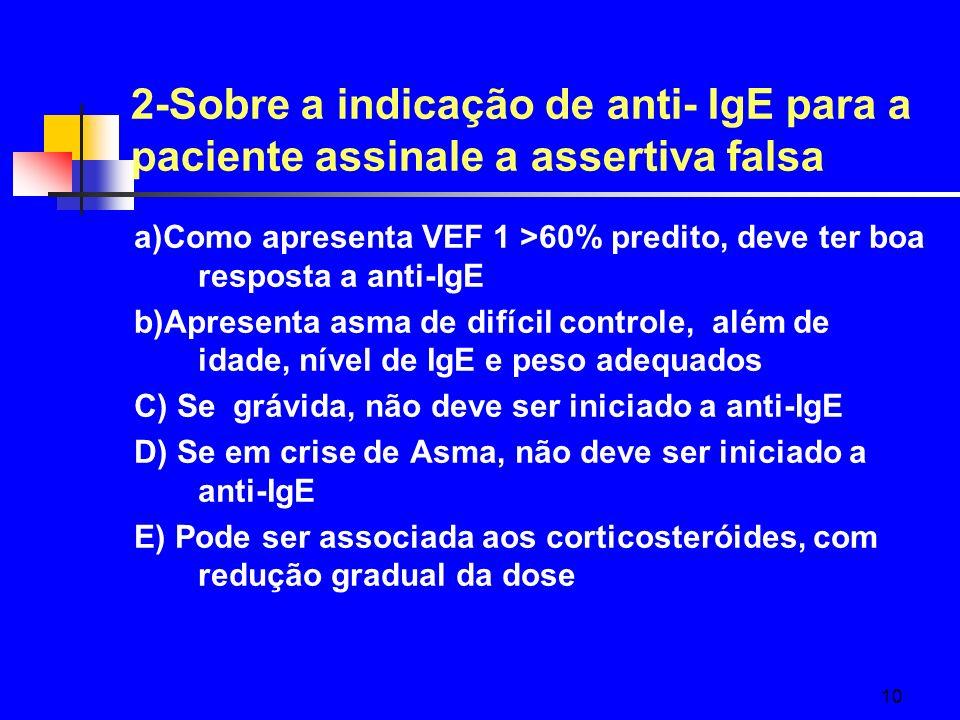 2-Sobre a indicação de anti- IgE para a paciente assinale a assertiva falsa