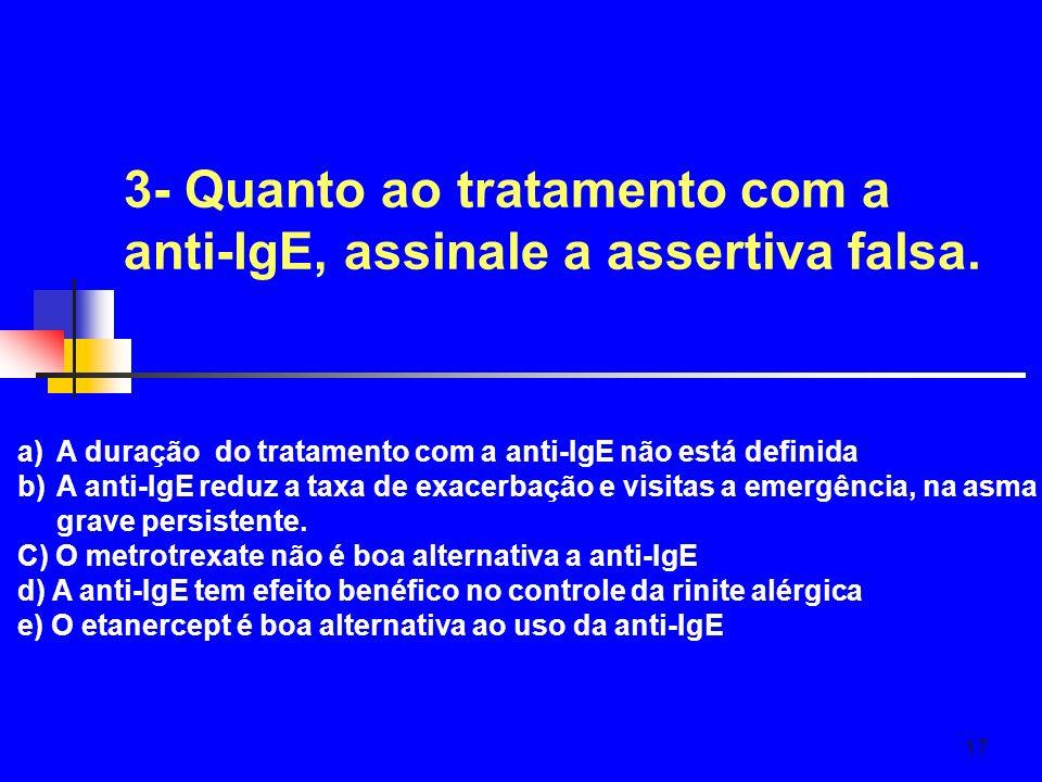 3- Quanto ao tratamento com a anti-IgE, assinale a assertiva falsa.