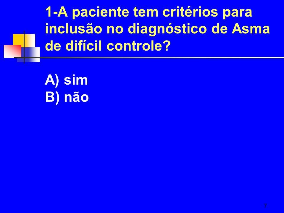 1-A paciente tem critérios para inclusão no diagnóstico de Asma de difícil controle A) sim B) não