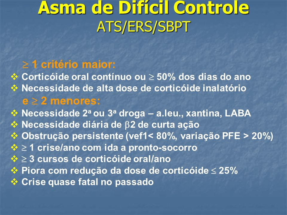 Asma de Difícil Controle ATS/ERS/SBPT