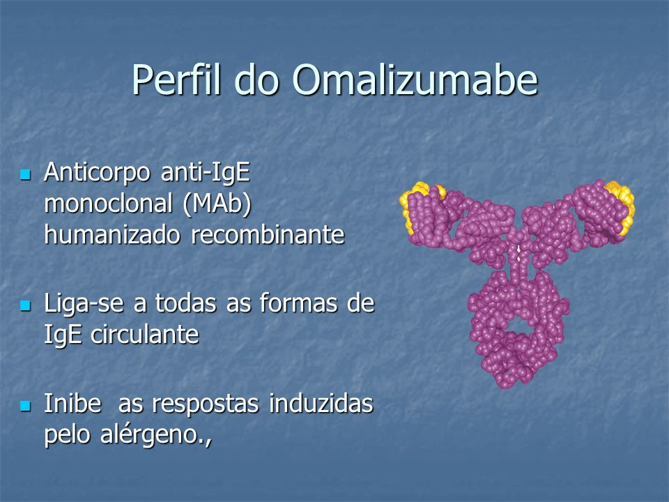 Perfil do Omalizumabe Anticorpo anti-IgE monoclonal (MAb) humanizado recombinante. Liga-se a todas as formas de IgE circulante.