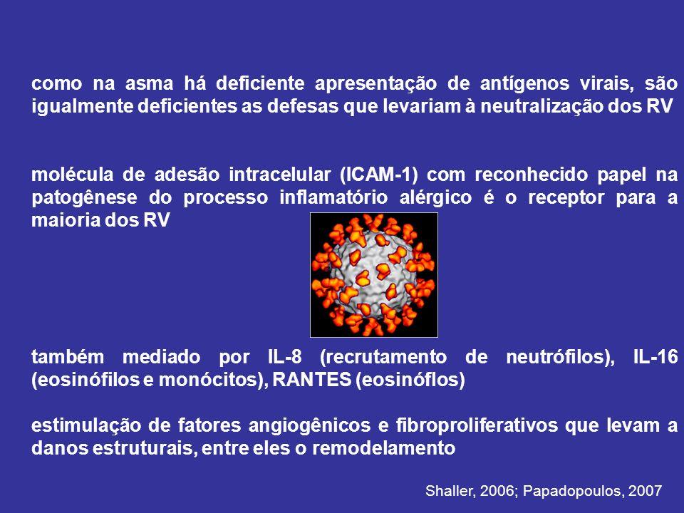 como na asma há deficiente apresentação de antígenos virais, são igualmente deficientes as defesas que levariam à neutralização dos RV