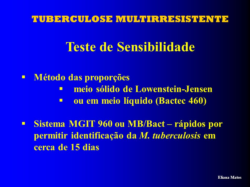 TUBERCULOSE MULTIRRESISTENTE Teste de Sensibilidade