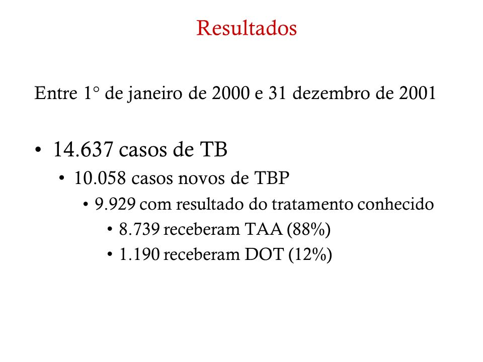 Resultados Entre 1° de janeiro de 2000 e 31 dezembro de 2001. 14.637 casos de TB. 10.058 casos novos de TBP.