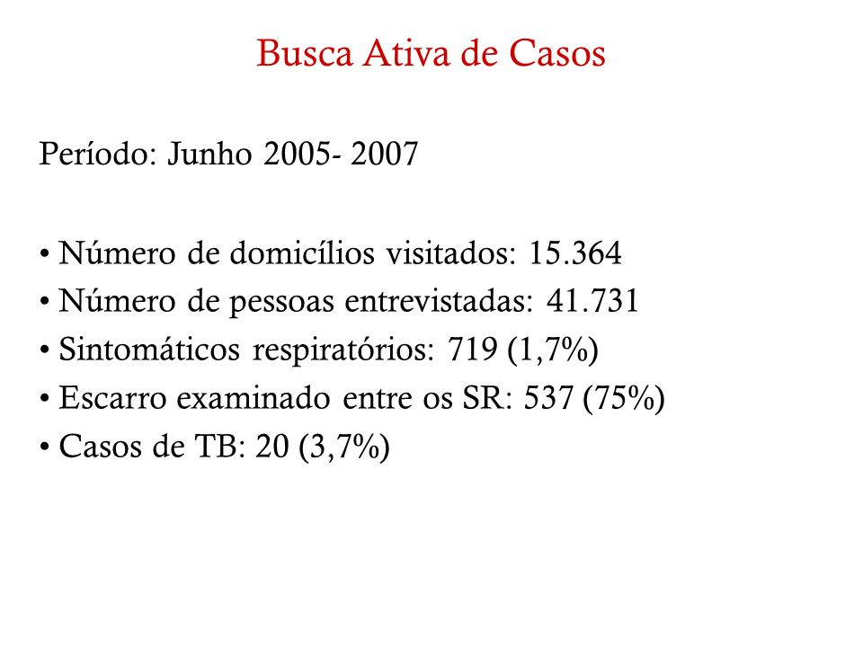 Busca Ativa de Casos Período: Junho 2005- 2007