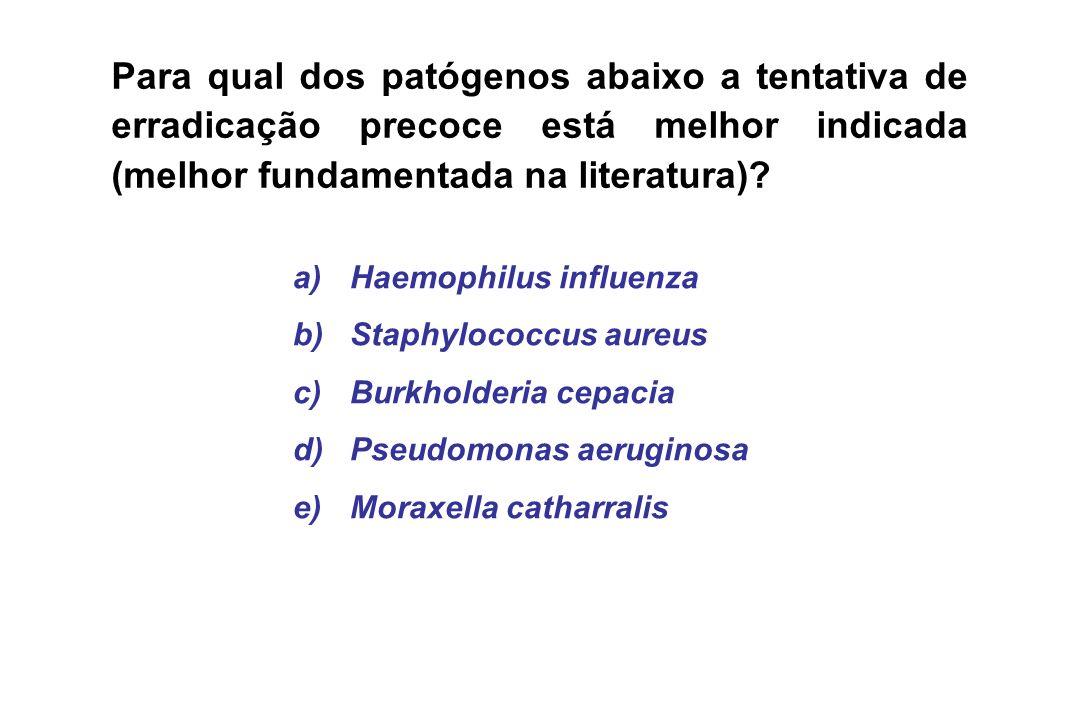 Para qual dos patógenos abaixo a tentativa de erradicação precoce está melhor indicada (melhor fundamentada na literatura)
