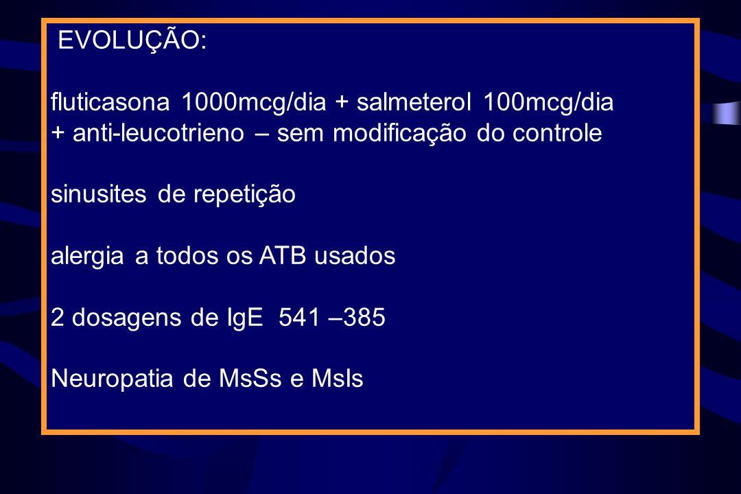 EVOLUÇÃO:fluticasona 1000mcg/dia + salmeterol 100mcg/dia. + anti-leucotrieno – sem modificação do controle.