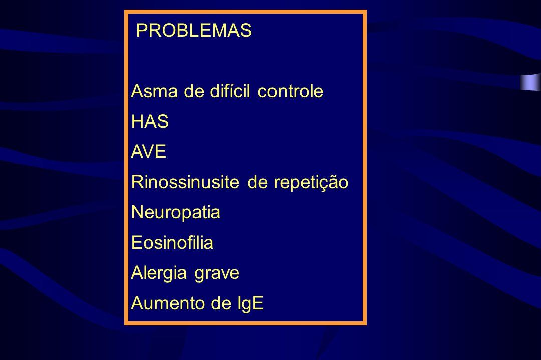 PROBLEMASAsma de difícil controle. HAS. AVE. Rinossinusite de repetição. Neuropatia. Eosinofilia. Alergia grave.