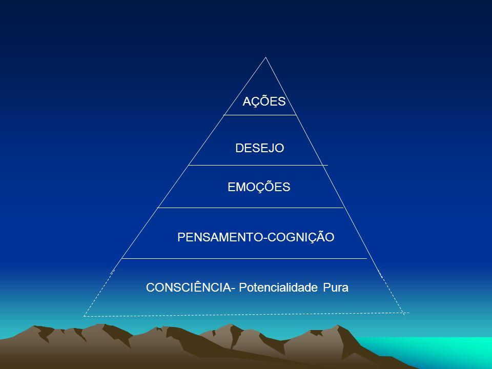 AÇÕES DESEJO EMOÇÕES PENSAMENTO-COGNIÇÃO CONSCIÊNCIA- Potencialidade Pura