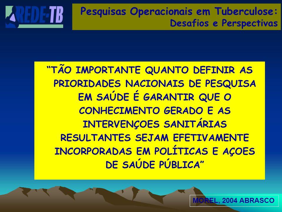 Pesquisas Operacionais em Tuberculose: