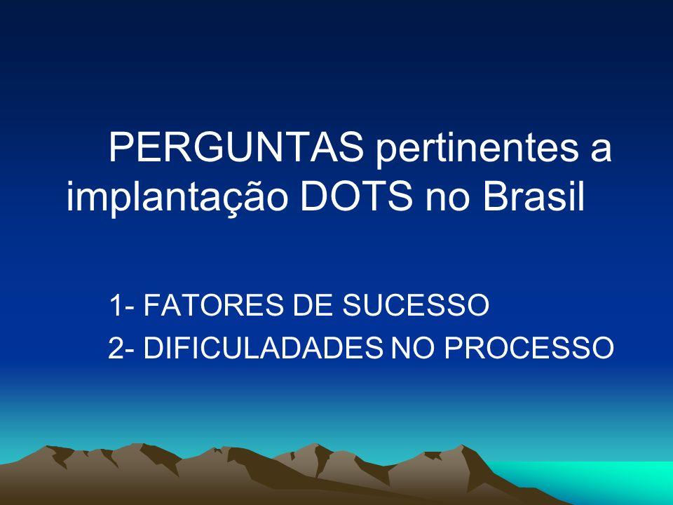 PERGUNTAS pertinentes a implantação DOTS no Brasil