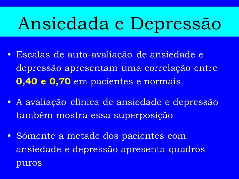 Ansiedada e Depressão Escalas de auto-avaliação de ansiedade e depressão apresentam uma correlação entre 0,40 e 0,70 em pacientes e normais.