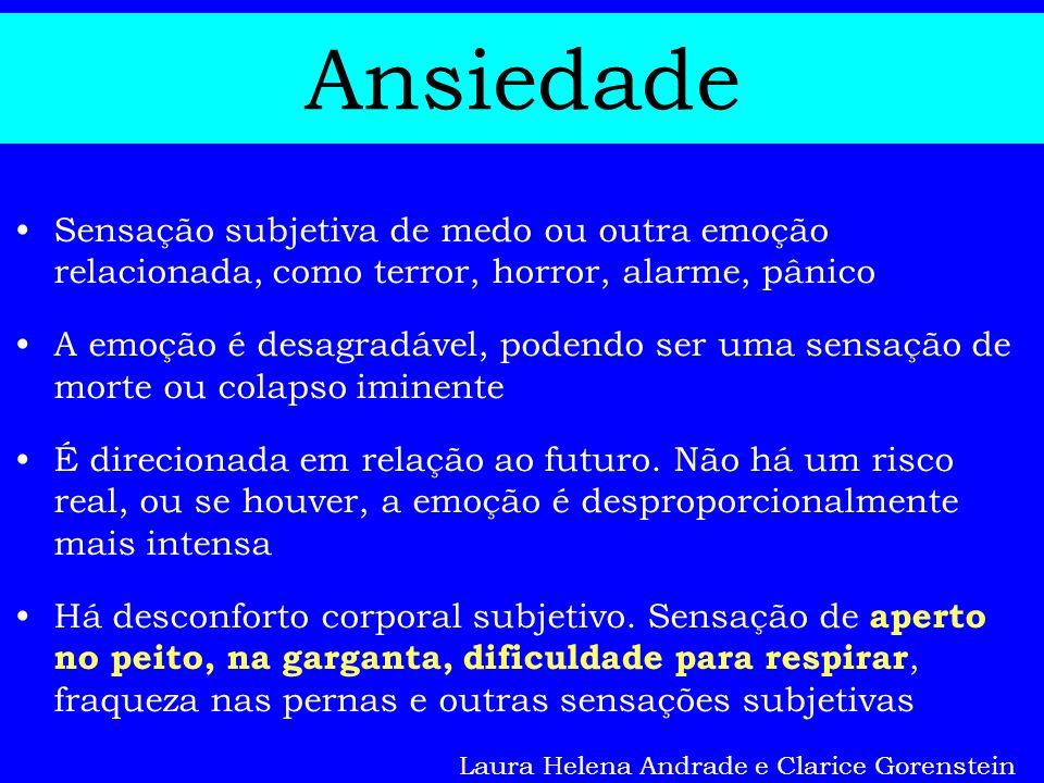 Ansiedade Sensação subjetiva de medo ou outra emoção relacionada, como terror, horror, alarme, pânico.