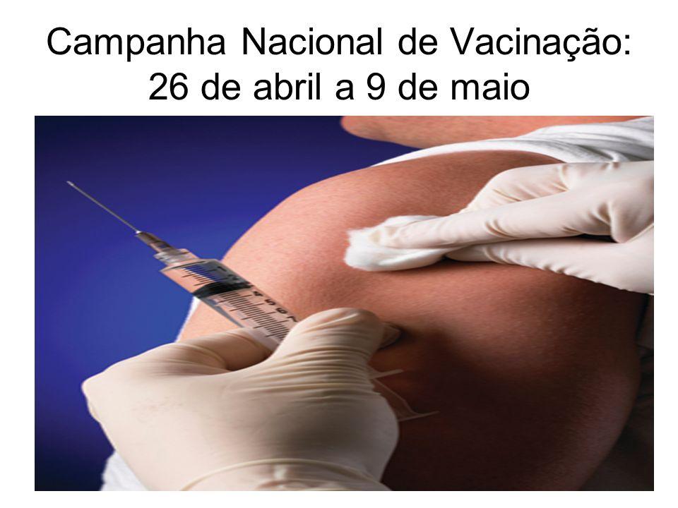 Campanha Nacional de Vacinação: 26 de abril a 9 de maio