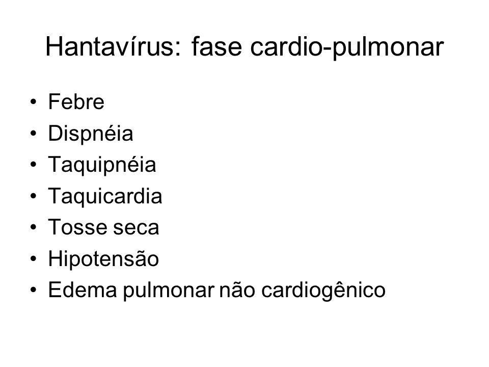 Hantavírus: fase cardio-pulmonar