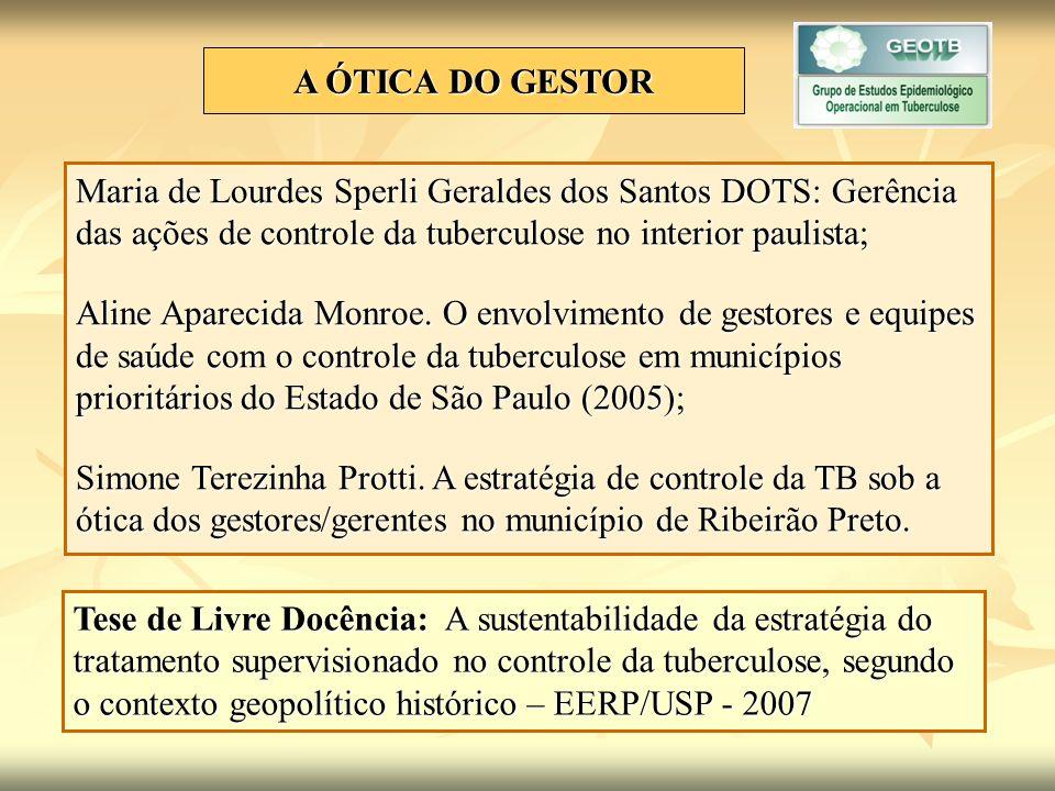 A ÓTICA DO GESTOR Maria de Lourdes Sperli Geraldes dos Santos DOTS: Gerência das ações de controle da tuberculose no interior paulista;
