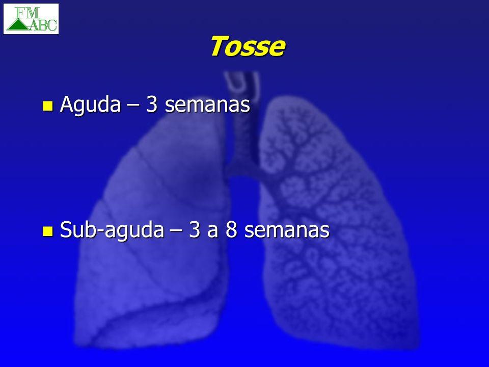 Tosse Aguda – 3 semanas Sub-aguda – 3 a 8 semanas