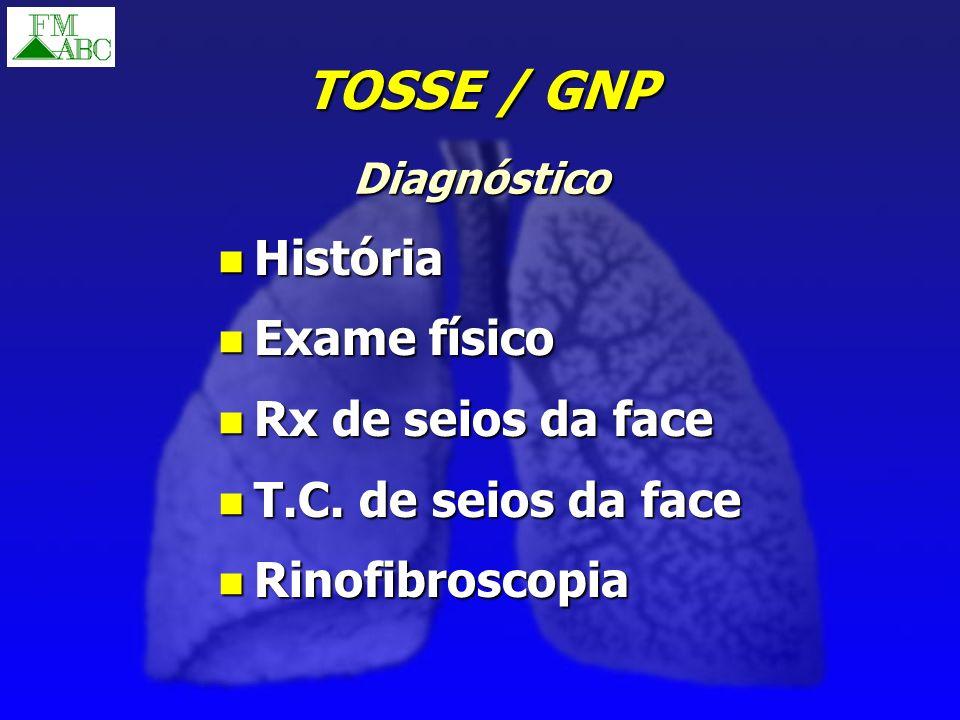 TOSSE / GNP História Exame físico Rx de seios da face