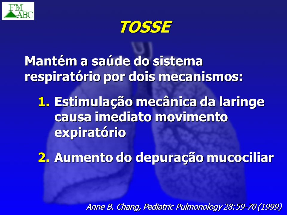 TOSSE Mantém a saúde do sistema respiratório por dois mecanismos: