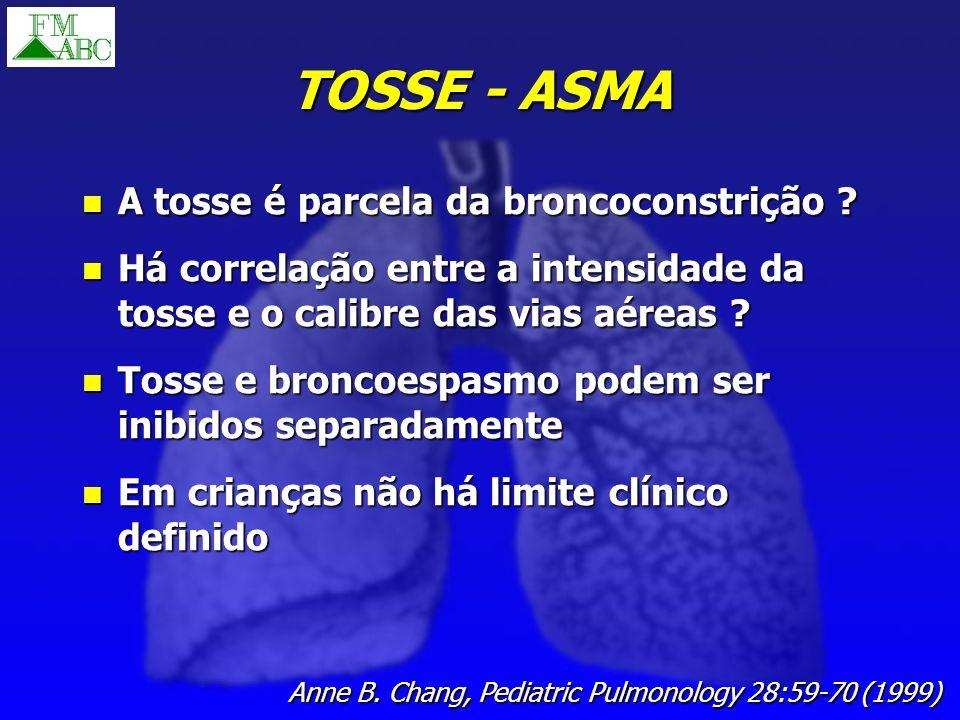TOSSE - ASMA A tosse é parcela da broncoconstrição