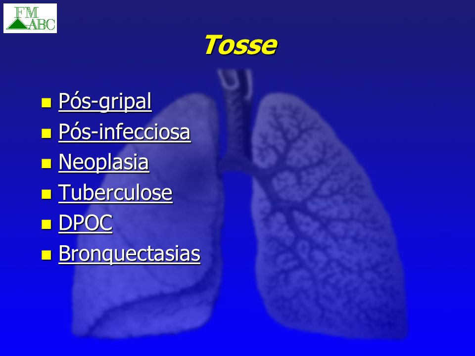 Tosse Pós-gripal Pós-infecciosa Neoplasia Tuberculose DPOC