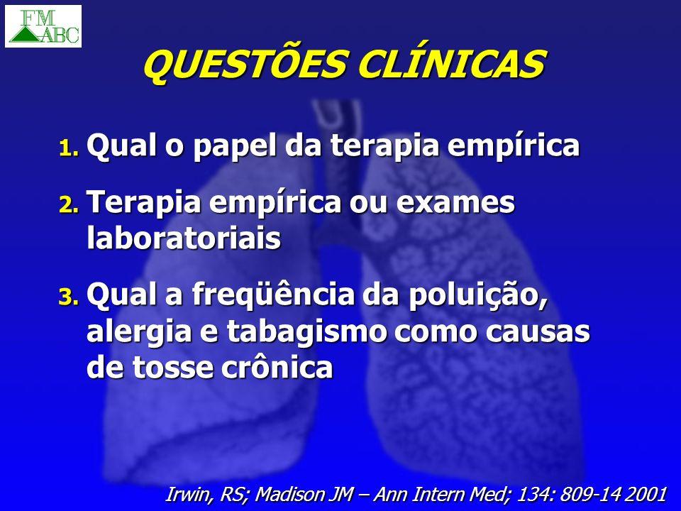 QUESTÕES CLÍNICAS Qual o papel da terapia empírica