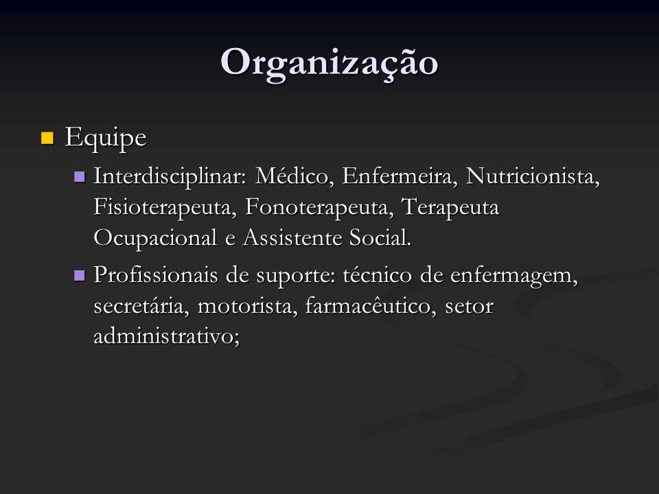 OrganizaçãoEquipe. Interdisciplinar: Médico, Enfermeira, Nutricionista, Fisioterapeuta, Fonoterapeuta, Terapeuta Ocupacional e Assistente Social.